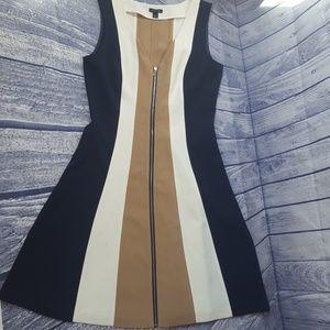 Ann Taylor Color Block Zipperes A line Dress, 2